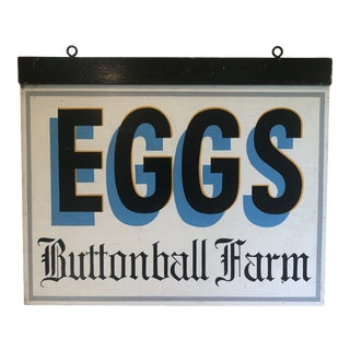 Vintage 1950s Double Sided Painted Hanging Trade Sign Woodbury, Ct Buttonball Farm Eggs For Sale