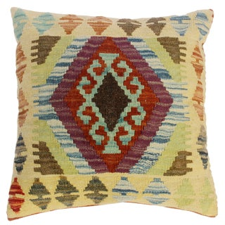 """Clarence Gold/Brown Hand-Woven Kilim Throw Pillow(18""""x18"""") For Sale"""
