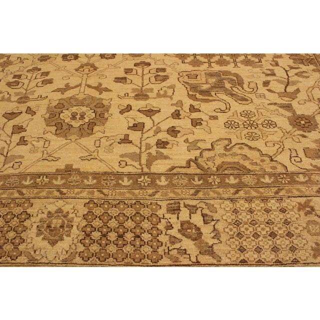 Textile Kafkaz Peshawar Kasi Tan/Brown Hand-Knotted Rug - 8'10 X 11'9 For Sale - Image 7 of 8