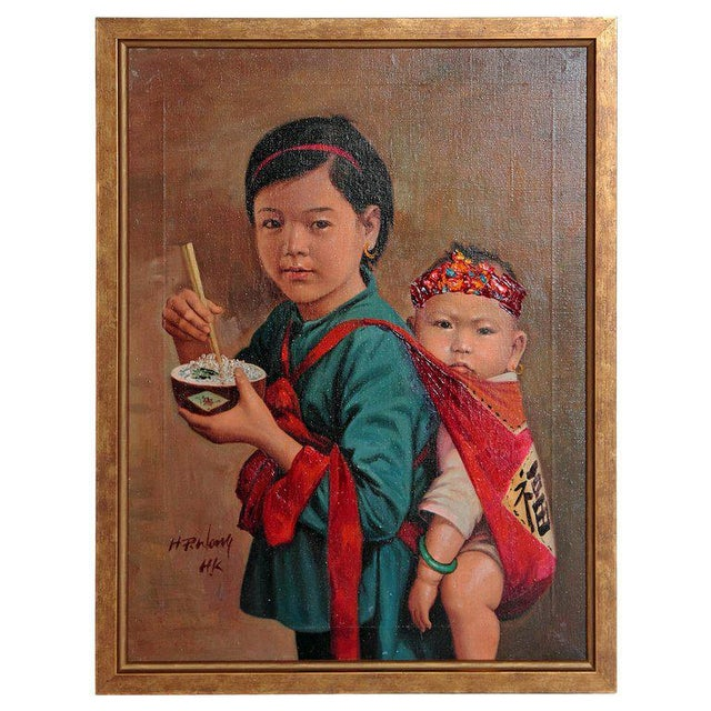 Chinese Oil Painting of Young Girl Carrying Baby For Sale - Image 12 of 12