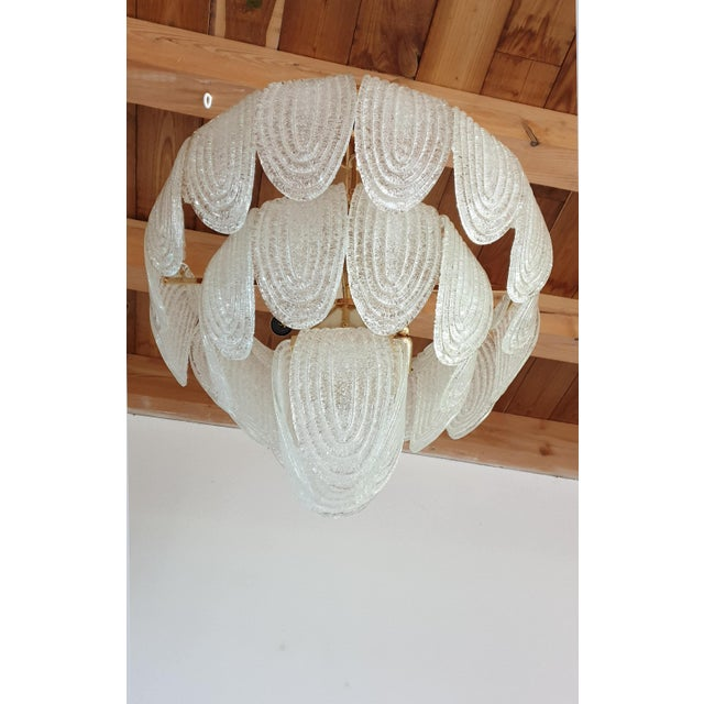 1970s Mid-Century Modern Murano Glass and Plated Gold Chandelier by Mazzega For Sale - Image 5 of 10