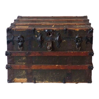 Victorian Wood and Metal Trunk For Sale