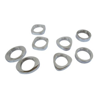 Modern Silverplate Napkin Rings - 8 Pieces For Sale