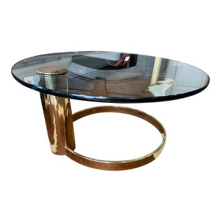 1970s Hollywood Regency Leon Rosen for Pace - Cantilevered Brass Coffee Table For Sale