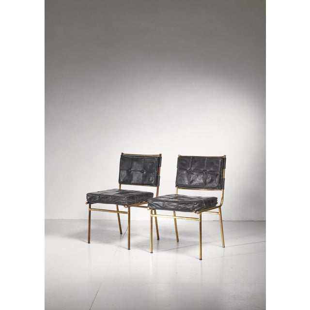 Mathieu Mategot Rare Pair of Brass and Leather Chairs, France For Sale - Image 6 of 8