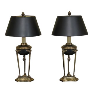 Chapman Regency Style Black & Brass Table Lamps - a Pair For Sale