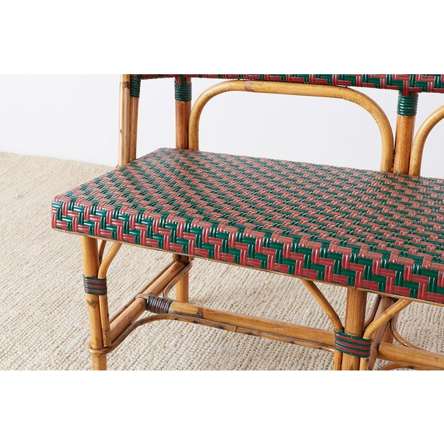 Green French Maison Gatti Rattan Bamboo Banquette Settee For Sale - Image 8 of 13