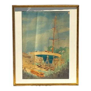 1949 Vintage Original Sailboat Watercolor on Paper Signed Painting For Sale
