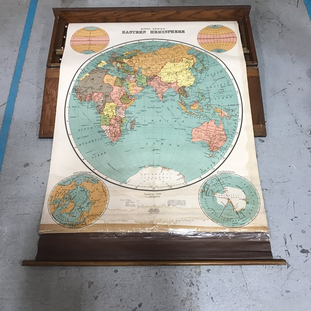 A.J. Nystrom Antique Nystrom Pull Down Maps in Case - Set of 4 For Sale - Image 4 of 13