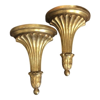 Italian Carved and Gilt Wood Fluted Brackets - a Pair For Sale