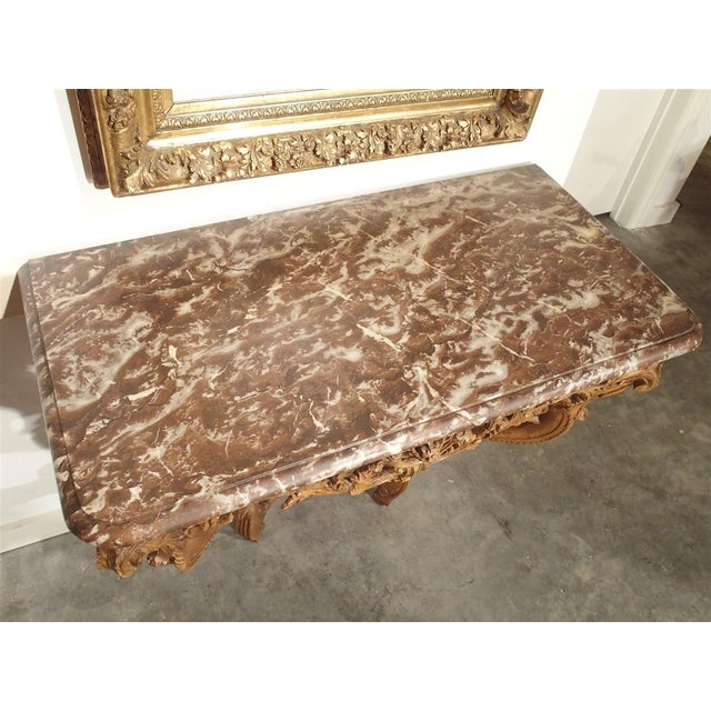 Early 18th Century Oak Regence Console With Rouge Marble Top For Sale - Image 9 of 13