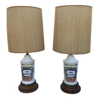 Antique Apothecary Jar Lamps - A Pair