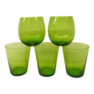 Mid-Century Modern Green Tumblers - Set of 5 For Sale