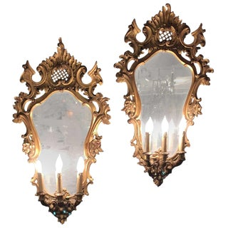 Pair of 19th Century Italian Carved Three-Light Mirrored Sconces For Sale