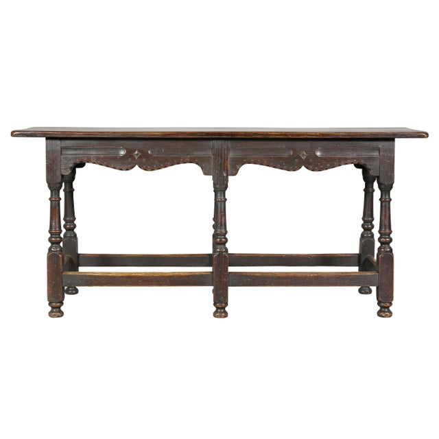 Jacobean Style Oak Bench For Sale - Image 9 of 10