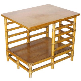 Restored Rattan Floating Ladder Side Table For Sale