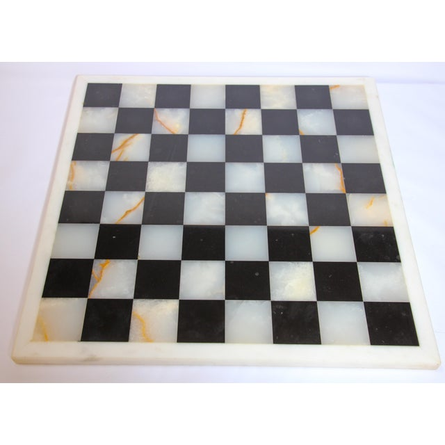 Vintage Marble Chess Board With Hand Carved Black and White Onyx Chess Pieces For Sale - Image 12 of 13