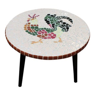 Vintage Rooster Mosaic Tile Occasional Table C.1950s For Sale