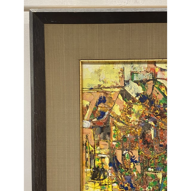 Vintage 1971 Signed Oil on Canvas Abstract Framed Art Painting Colorful For Sale - Image 4 of 8