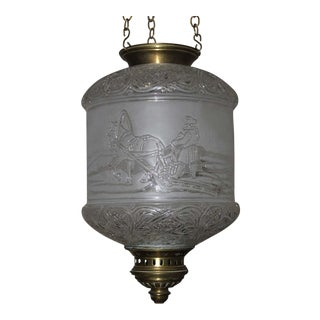 C.1880 Baccarat France Antique Baccarat Lantern, Signed Russian Troika and Cossacks For Sale