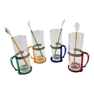 Unusual Mid-Century-Century Glasses With Handles, Stirrers, 8 Pieces For Sale