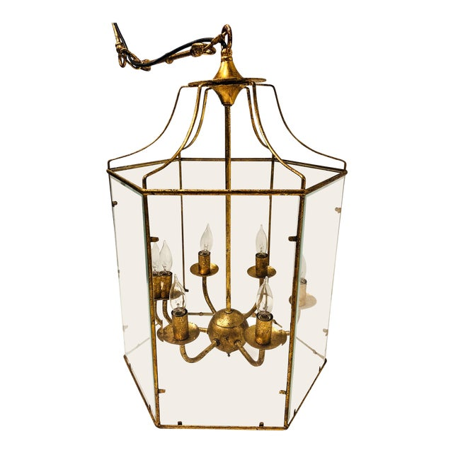 Gilt Metal Lantern Chandelier For Sale