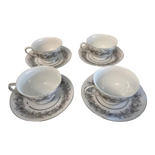 Vintage 1980s Florentine by Sango Tea Cups and Saucers - Set for 4 For Sale