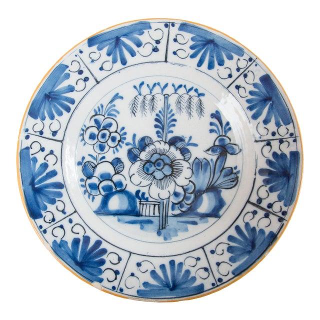 Antique 18th-Century Dutch Delft Floral Plate For Sale
