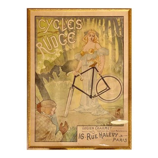 Jacques Debut Cycles Rudge Lucien Charmet Vintage Poster Framed For Sale