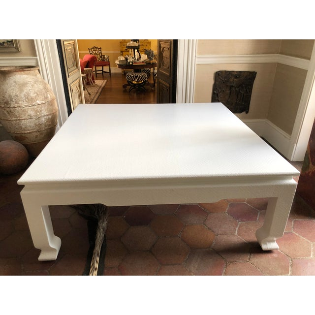 Large Square Asian Modern Linen Wrapped Coffee Table in the Style of Karl Springer For Sale - Image 10 of 12