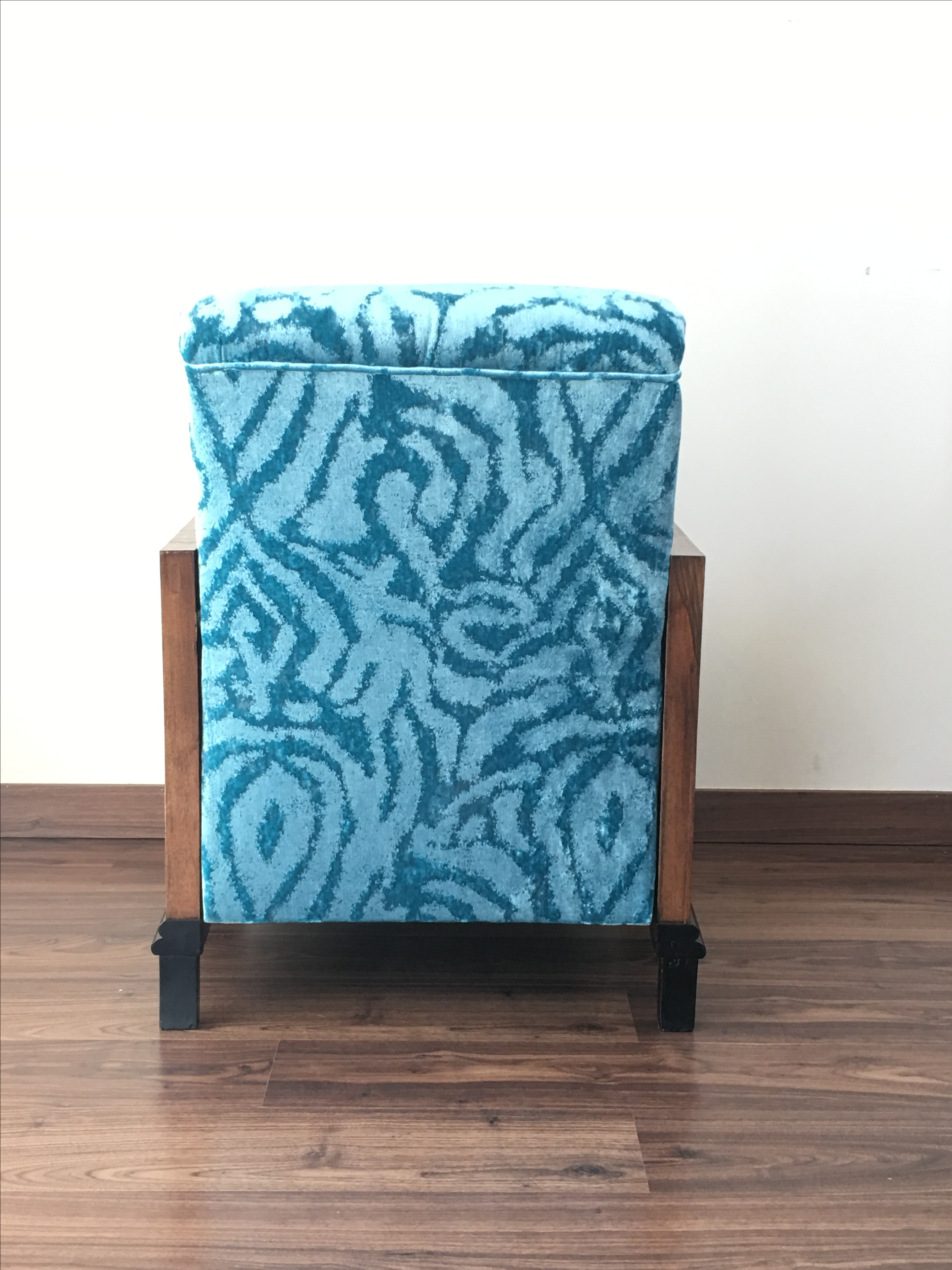Vintage Art Deco Turquoise Velvet Club Chairs Amp Ottoman