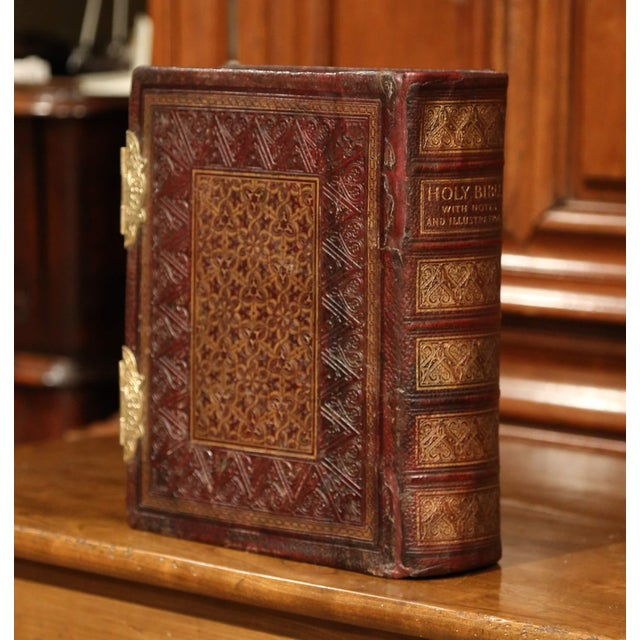Late 19th Century 19th Century English Leatherbound and Brass Locks Holy Bible With Illustrations For Sale - Image 5 of 8