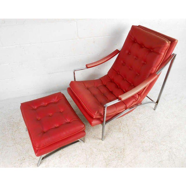 Vintage Mid-Century Tufted Armchair and Ottoman - Image 2 of 7