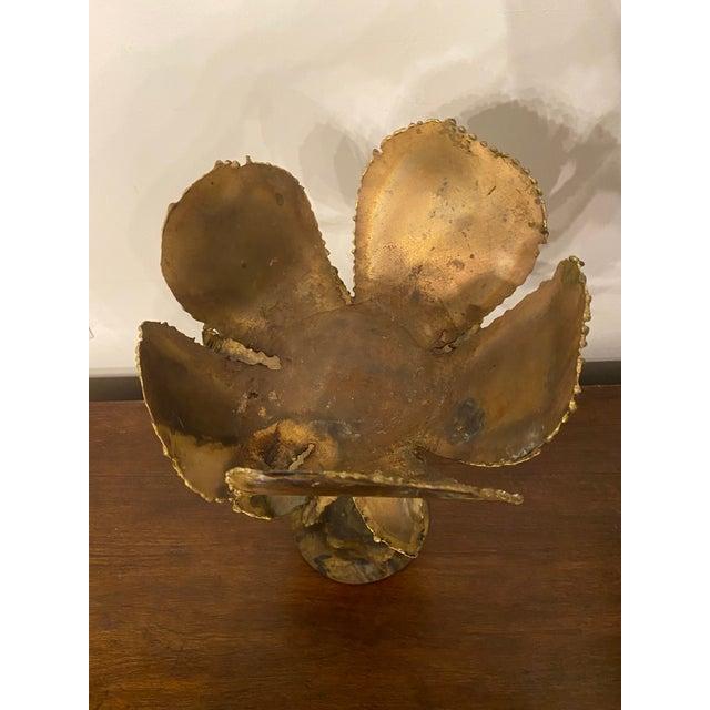 Brutalist Vintage Mid-Century Friedle Style Torch Cut Floral Sculpture For Sale - Image 3 of 13