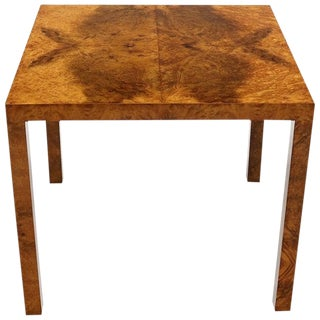 Square Burl Wood Game Center Table by Milo Baughman for Directional For Sale