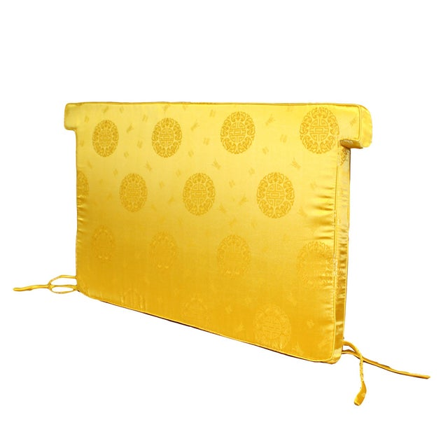Chinese Chinese Oriental Golden Yellow Silk Fabric Rectangular Seat Cushion Pad For Sale - Image 3 of 6