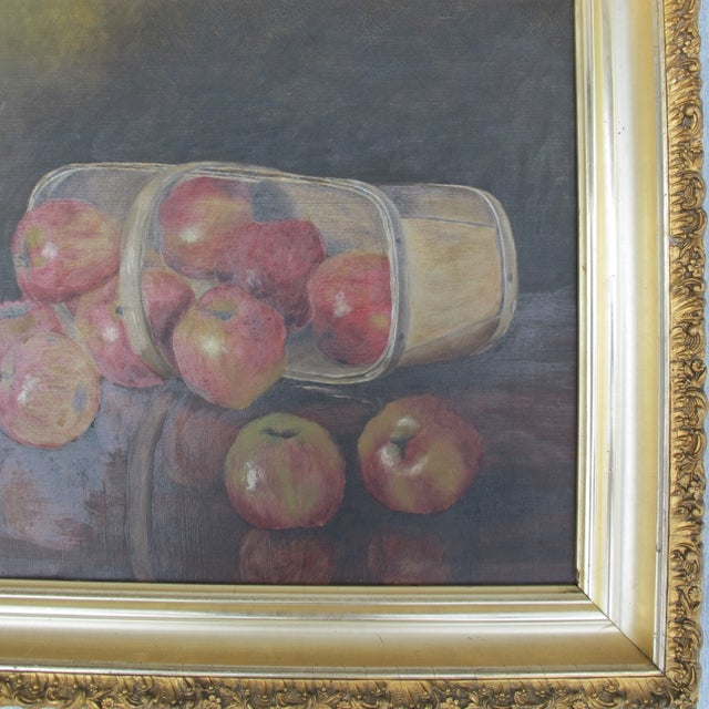 """""""Basket of Apples"""", Oil Painting on Canvas - Image 5 of 8"""