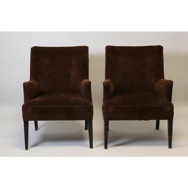 Pair of petite and extremely comfortable Mid-Century Modern chairs. Currently upholstered in a rich, chocolate brown...