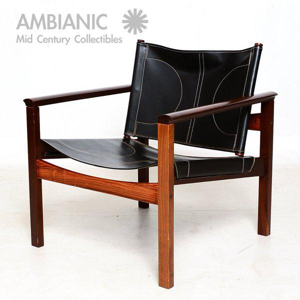 Pair of Leather & Rosewood Michel Arnoult Safari Armchairs For Sale - Image 9 of 9