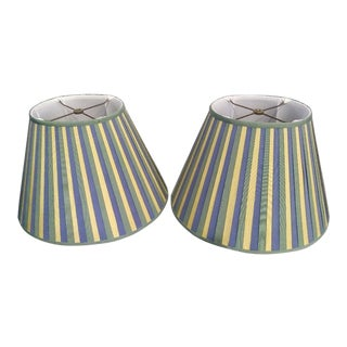 A Pair Grosgrain Ribbon Oval Yellow, Green, Blue Custom lamp shades For Sale