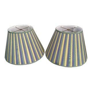 A Pair Grosgrain Ribbon Oval Yellow, Green, Blue Custom Lamp Shades