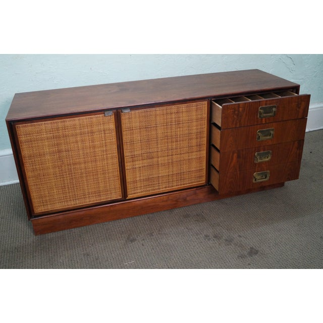 Mid-Century Modern Walnut Cane Door Credenza withDrawers For Sale In Philadelphia - Image 6 of 10