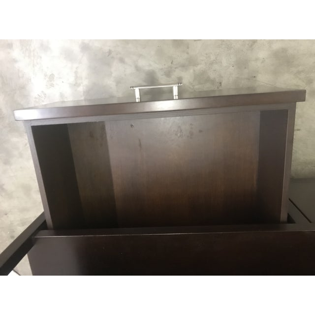 Wood Espresso Stained Three Drawer Console For Sale - Image 7 of 9