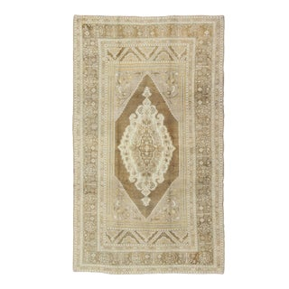 Oushak Turkish Vintage Rug With Medallion in Earth Tones, Cream and Light Brown For Sale