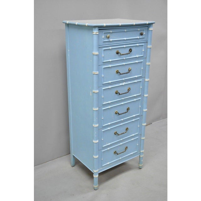 Vintage Thomasville Allegro faux bamboo 7 drawer painted tall lingerie chest. Item features laminate top, blue painted...