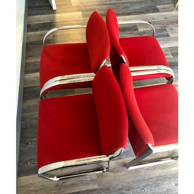 Red Chrome Chairs - Set of Four For Sale - Image 8 of 8