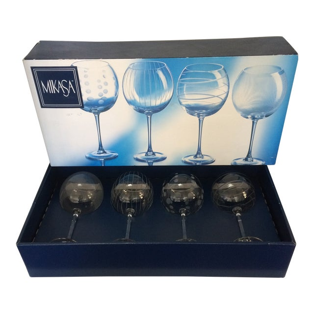 Vintage Mikasa Etched Crystal Balloon Wine Glasses - Set of Four in Original Box Made in France For Sale