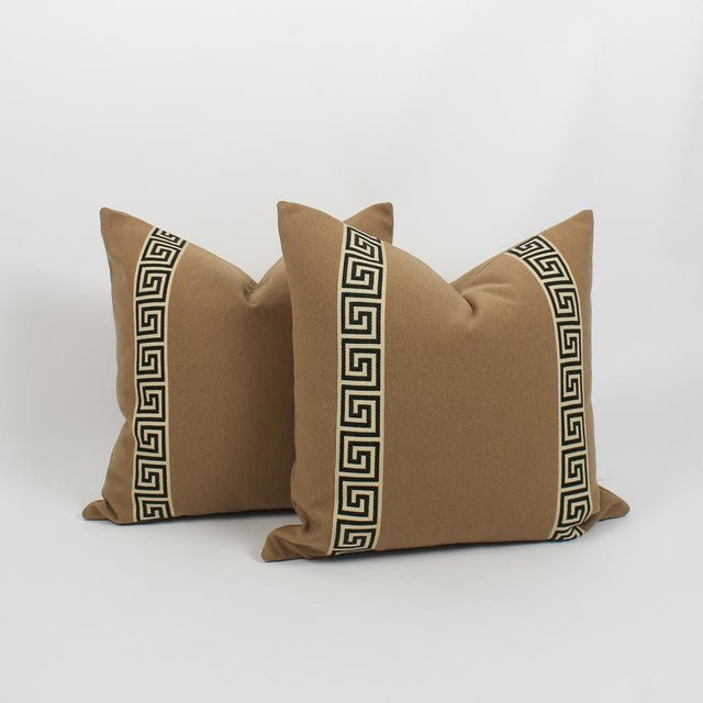Black Camel Wool Blend Greek Key Trim Pillows, a Pair For Sale - Image 8 of 8