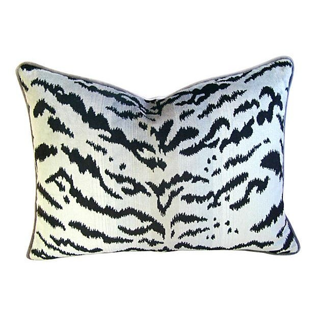 "Scalamandre Le Tigre Tiger Silver & Black Feather/Down Pillow 24"" X 18"" - Image 3 of 3"