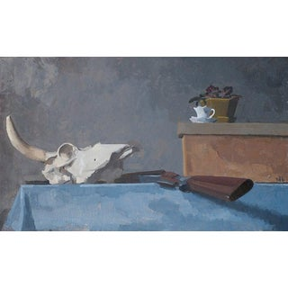 Original Still Life Oil Painting: Cow Skull and Tea Cup For Sale
